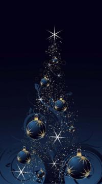 albero-di-natale-blu-con-palle-decorate